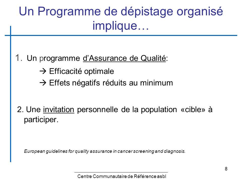 8 Un Programme de dépistage organisé implique… 1. Un programme dAssurance de Qualité: Efficacité optimale Effets négatifs réduits au minimum 2. Une in