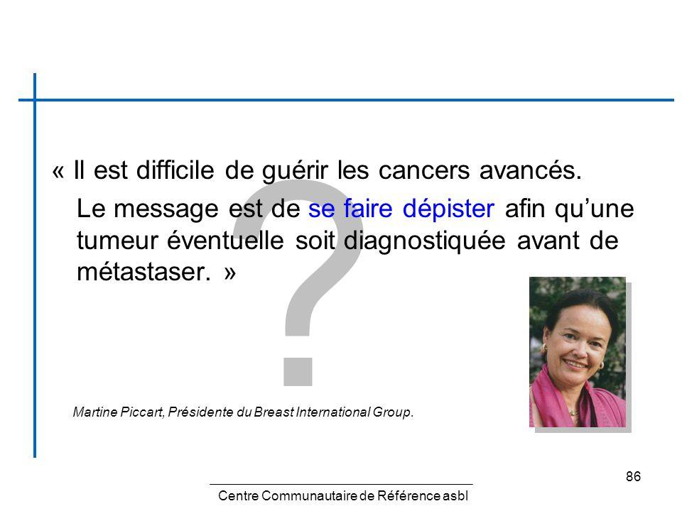 86 ? « Il est difficile de guérir les cancers avancés. Le message est de se faire dépister afin quune tumeur éventuelle soit diagnostiquée avant de mé