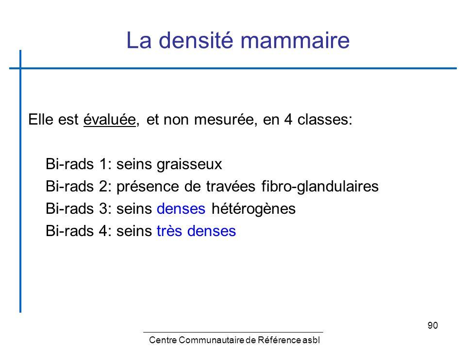 90 La densité mammaire Elle est évaluée, et non mesurée, en 4 classes: Bi-rads 1: seins graisseux Bi-rads 2: présence de travées fibro-glandulaires Bi