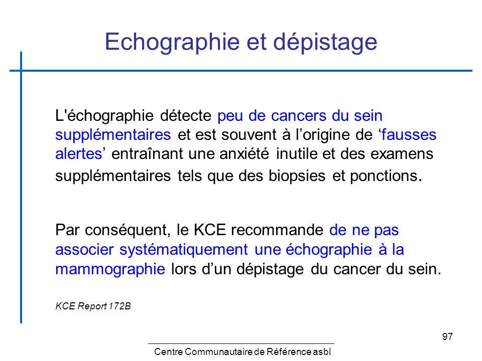 97 Echographie et dépistage L'échographie détecte peu de cancers du sein supplémentaires et est souvent à lorigine de fausses alertes entraînant une a