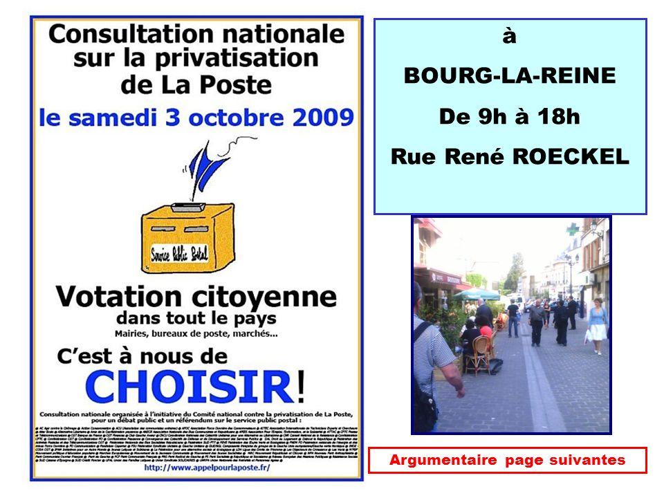 à BOURG-LA-REINE De 9h à 18h Rue René ROECKEL Argumentaire page suivantes