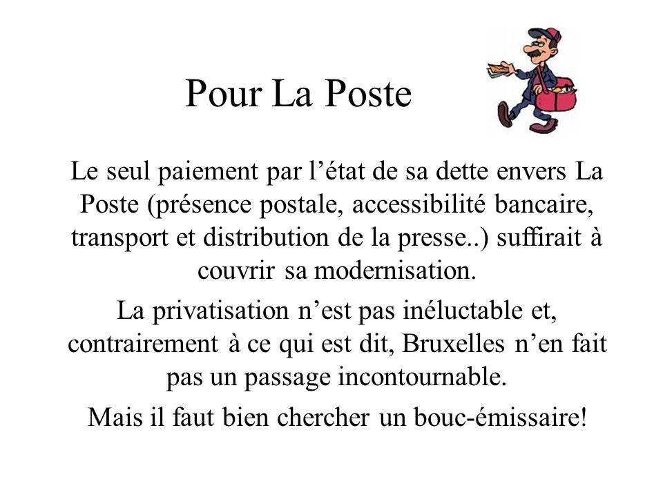 Pour La Poste Le seul paiement par létat de sa dette envers La Poste (présence postale, accessibilité bancaire, transport et distribution de la presse
