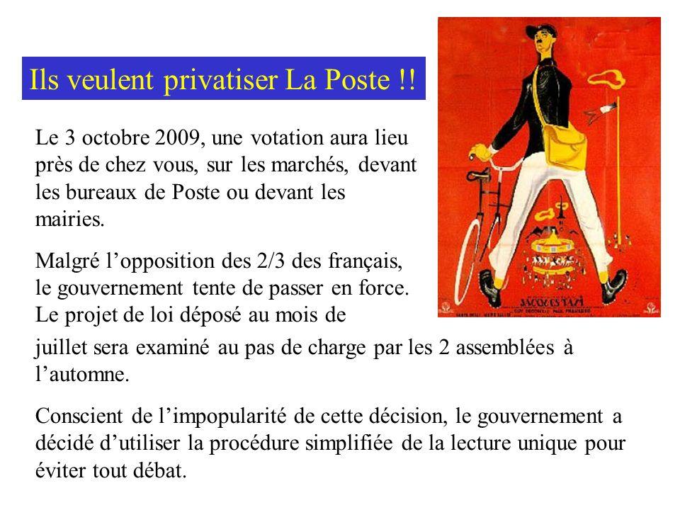 Ainsi, après France Télécom, Edf, Gdf qui ne devait jamais être privatisée (selon les propres paroles de Nicolas Sarkozy, à lépoque ministre de léconomie), cest à cette puissante institution quest La Poste, présente sur tout le territoire, que sattaquent les lobbies du « tout privé » et de la concurrence à outrance.