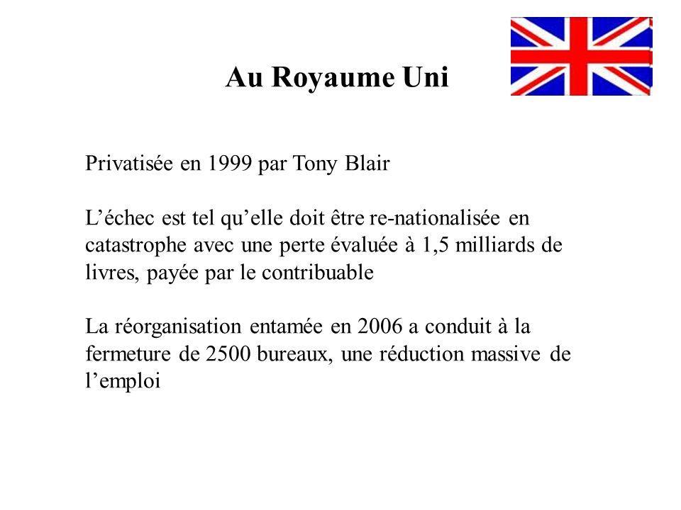 Au Royaume Uni Privatisée en 1999 par Tony Blair Léchec est tel quelle doit être re-nationalisée en catastrophe avec une perte évaluée à 1,5 milliards