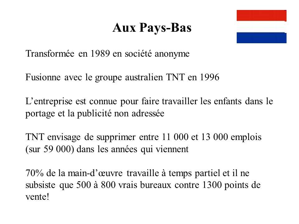 Aux Pays-Bas Transformée en 1989 en société anonyme Fusionne avec le groupe australien TNT en 1996 Lentreprise est connue pour faire travailler les en