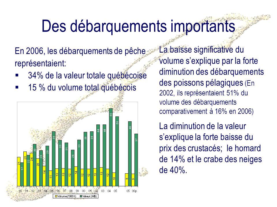 Des débarquements importants En 2006, les débarquements de pêche représentaient: 34% de la valeur totale québécoise 15 % du volume total québécois La baisse significative du volume sexplique par la forte diminution des débarquements des poissons pélagiques (En 2002, ils représentaient 51% du volume des débarquements comparativement à 16% en 2006) La diminution de la valeur sexplique la forte baisse du prix des crustacés; le homard de 14% et le crabe des neiges de 40%.