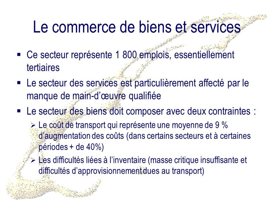 Le commerce de biens et services Ce secteur représente 1 800 emplois, essentiellement tertiaires Le secteur des services est particulièrement affecté