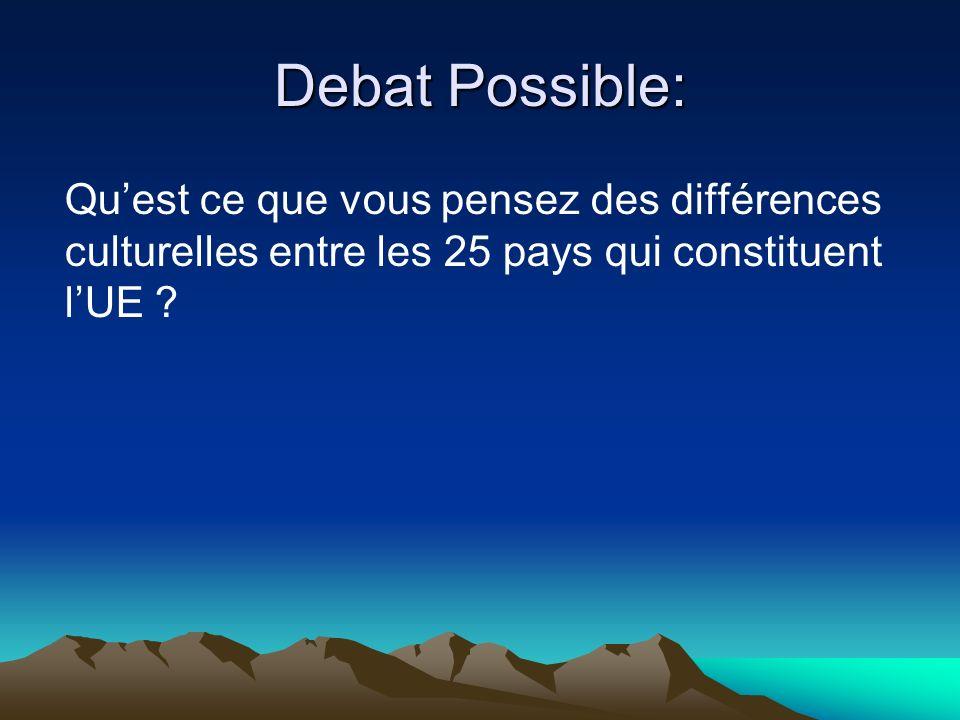 Debat Possible: Quest ce que vous pensez des différences culturelles entre les 25 pays qui constituent lUE