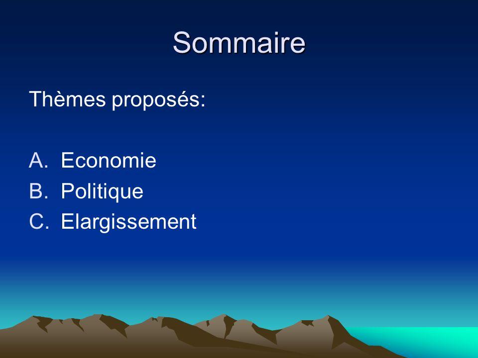 Sommaire Thèmes proposés: A.Economie B.Politique C.Elargissement
