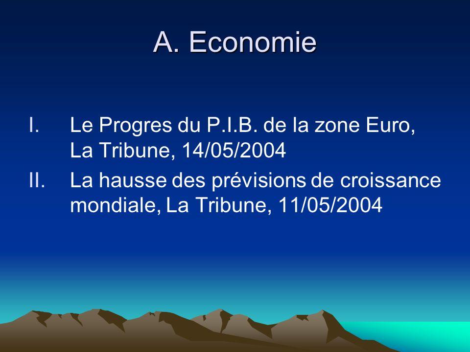 A. Economie I.Le Progres du P.I.B.