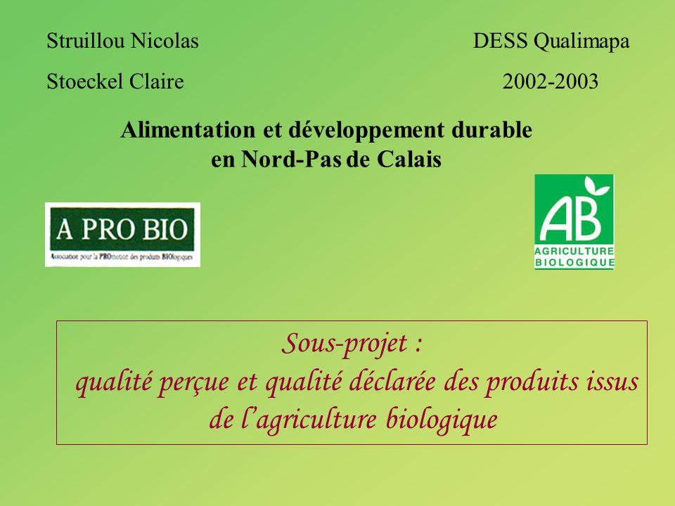 Alimentation et développement durable en Nord-Pas de Calais Sous-projet : qualité perçue et qualité déclarée des produits issus de lagriculture biolog