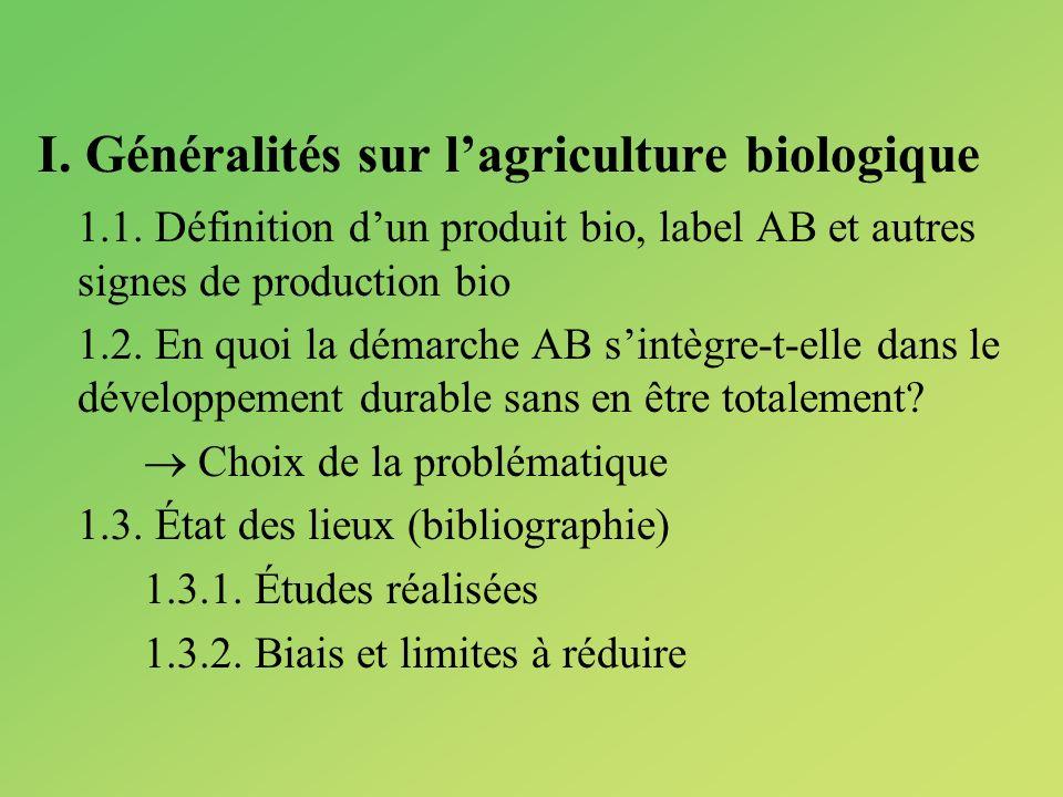 I. Généralités sur lagriculture biologique 1.1. Définition dun produit bio, label AB et autres signes de production bio 1.2. En quoi la démarche AB si
