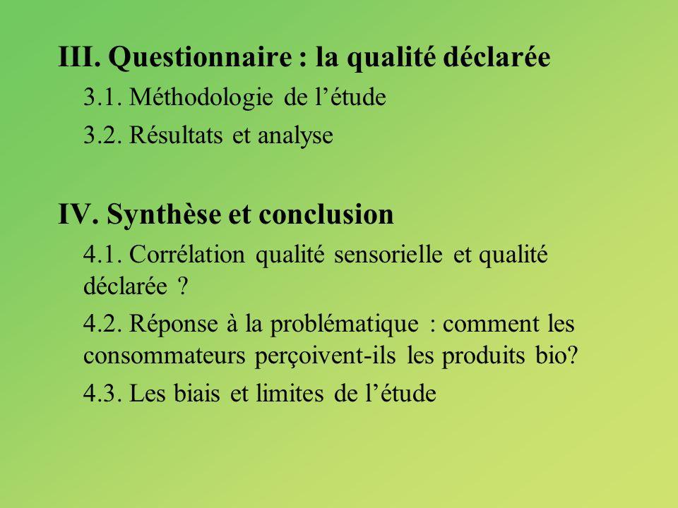 III. Questionnaire : la qualité déclarée 3.1. Méthodologie de létude 3.2. Résultats et analyse IV. Synthèse et conclusion 4.1. Corrélation qualité sen