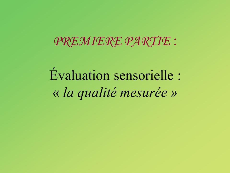 PREMIERE PARTIE : Évaluation sensorielle : « la qualité mesurée »