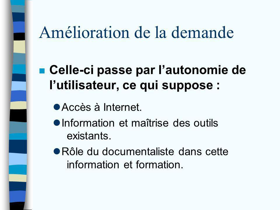 Amélioration de la demande n Celle-ci passe par lautonomie de lutilisateur, ce qui suppose : Accès à Internet.