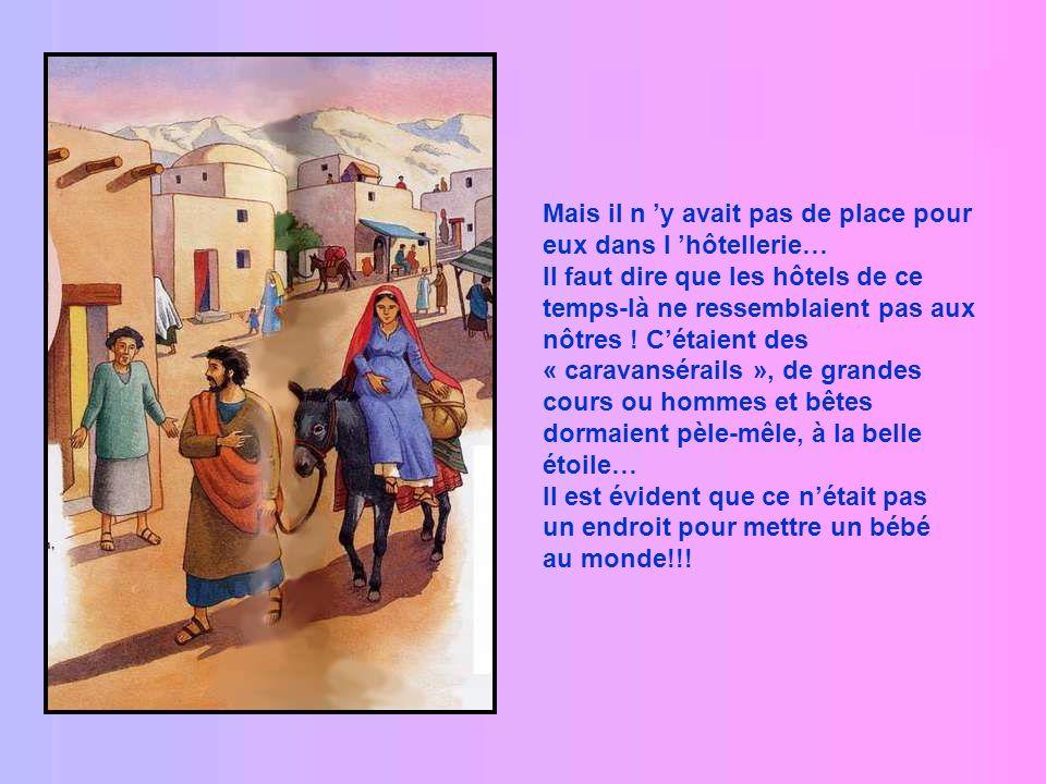 Il y eut de grands mouvements de foule dans tout le pays ! Joseph était né à Bethléem, il partit donc vers cette petite ville avec Marie. Marie était