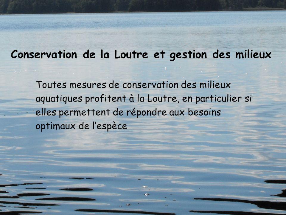 Toutes mesures de conservation des milieux aquatiques profitent à la Loutre, en particulier si elles permettent de répondre aux besoins optimaux de le