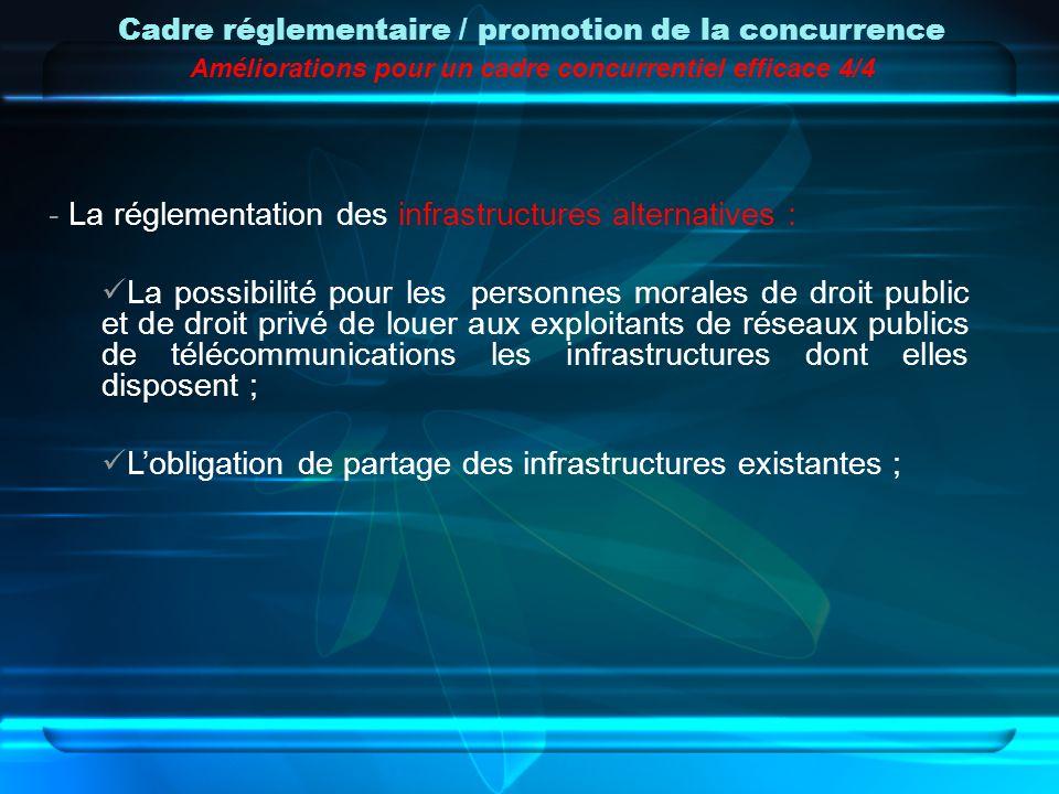 - La réglementation des infrastructures alternatives : La possibilité pour les personnes morales de droit public et de droit privé de louer aux exploi
