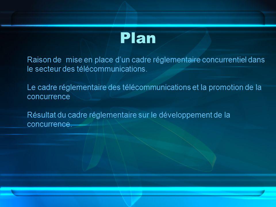 Plan Raison de mise en place dun cadre réglementaire concurrentiel dans le secteur des télécommunications. Le cadre réglementaire des télécommunicatio