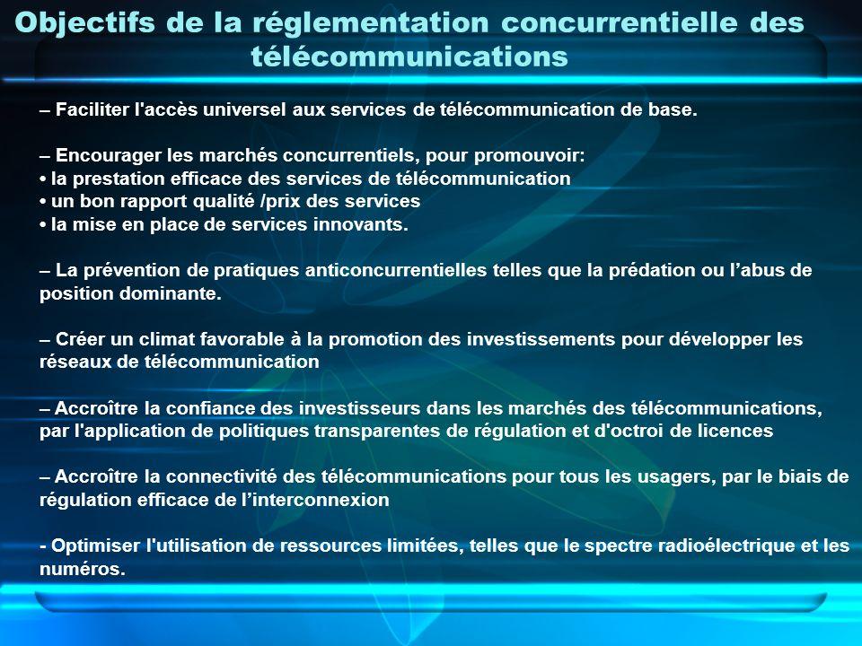 Objectifs de la réglementation concurrentielle des télécommunications – Faciliter l'accès universel aux services de télécommunication de base. – Encou