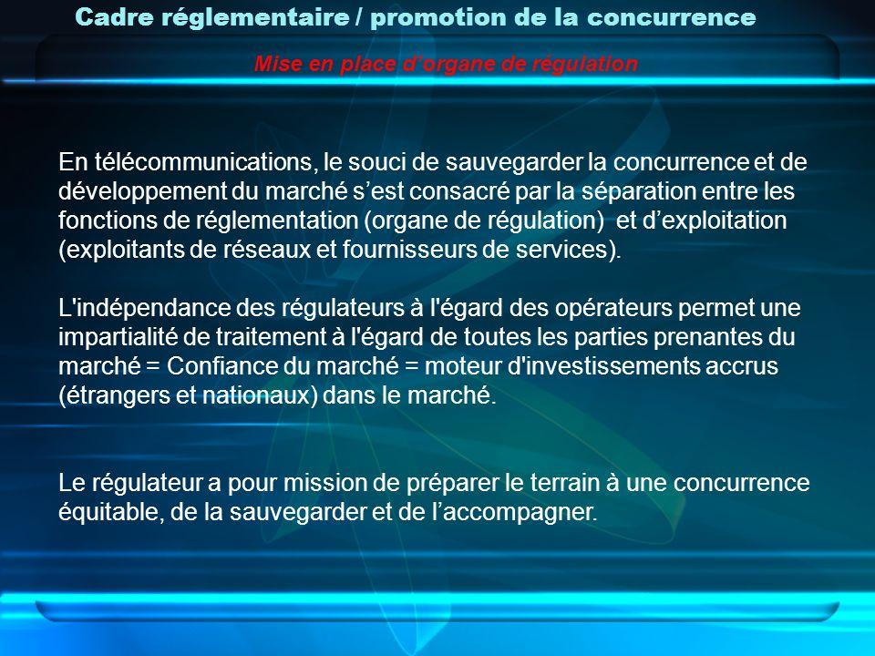 Cadre réglementaire / promotion de la concurrence En télécommunications, le souci de sauvegarder la concurrence et de développement du marché sest con