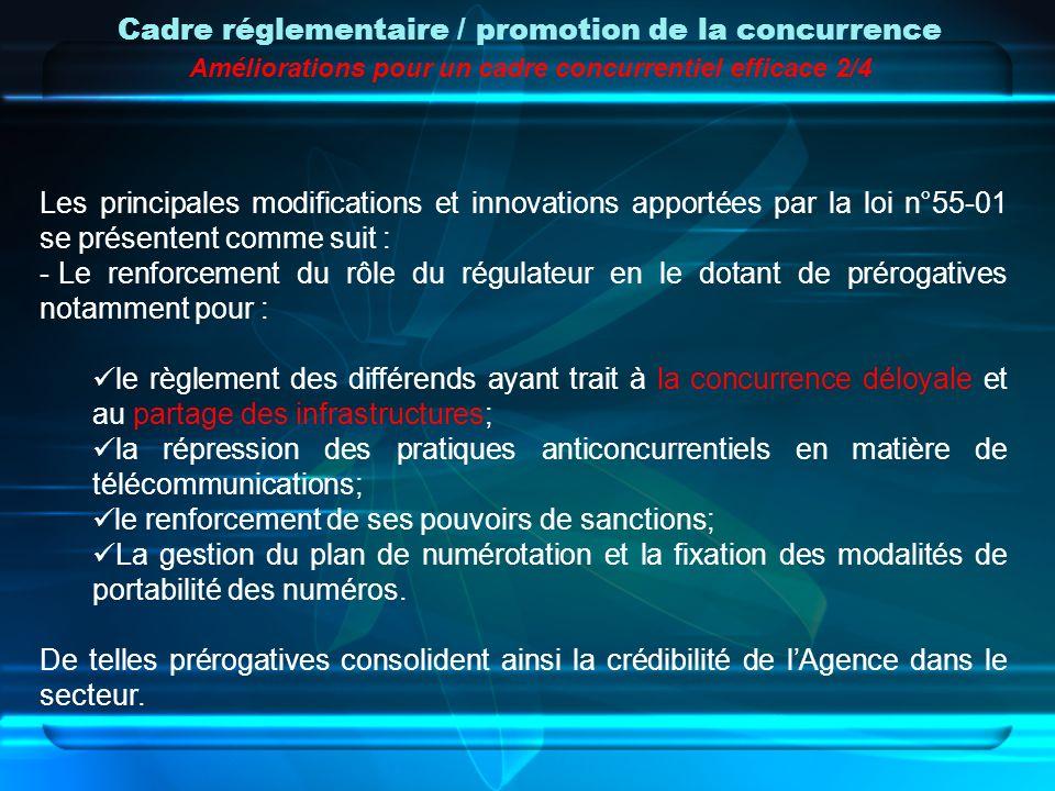 Les principales modifications et innovations apportées par la loi n°55-01 se présentent comme suit : - Le renforcement du rôle du régulateur en le dot