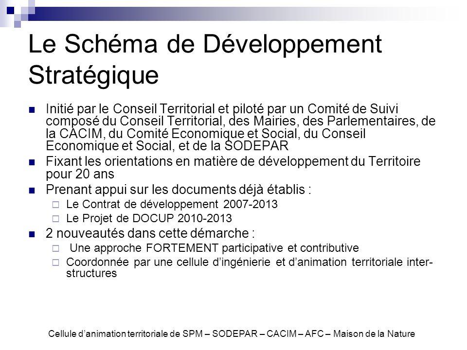 Le Schéma de Développement Stratégique Initié par le Conseil Territorial et piloté par un Comité de Suivi composé du Conseil Territorial, des Mairies,