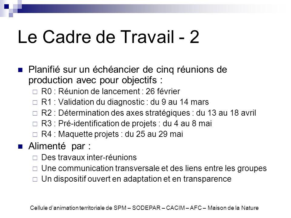 Le Cadre de Travail - 2 Planifié sur un échéancier de cinq réunions de production avec pour objectifs : R0 : Réunion de lancement : 26 février R1 : Va