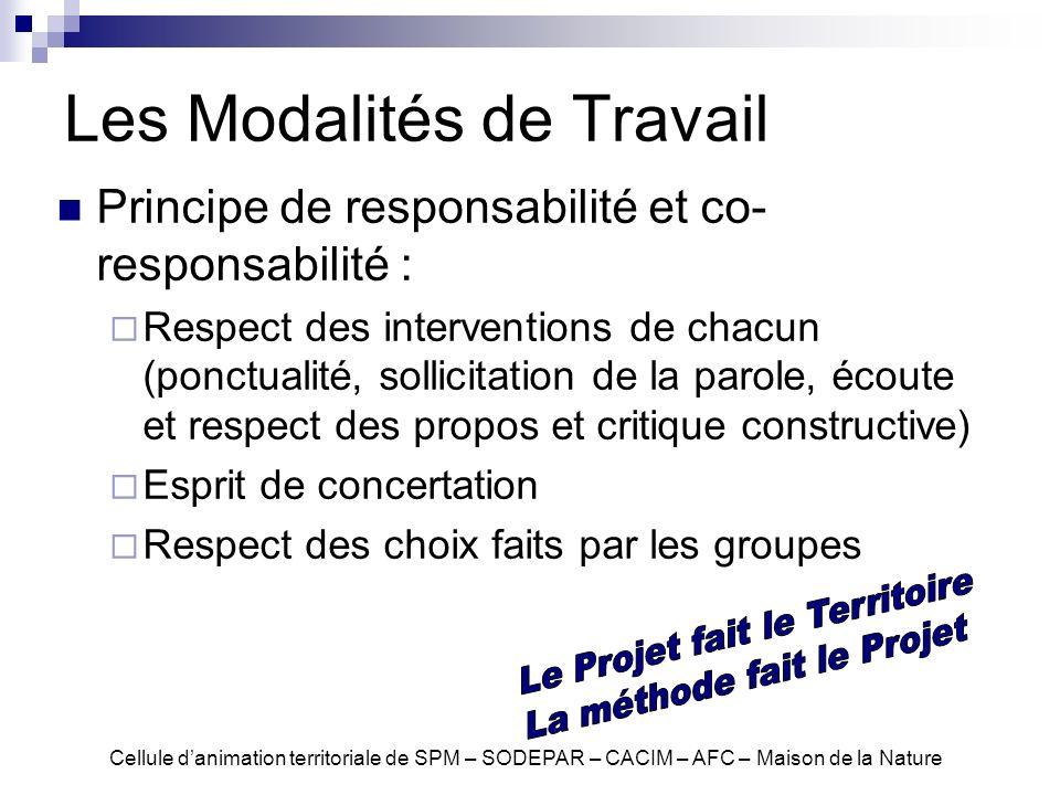 Les Modalités de Travail Principe de responsabilité et co- responsabilité : Respect des interventions de chacun (ponctualité, sollicitation de la paro