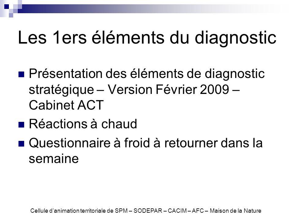 Les 1ers éléments du diagnostic Présentation des éléments de diagnostic stratégique – Version Février 2009 – Cabinet ACT Réactions à chaud Questionnai