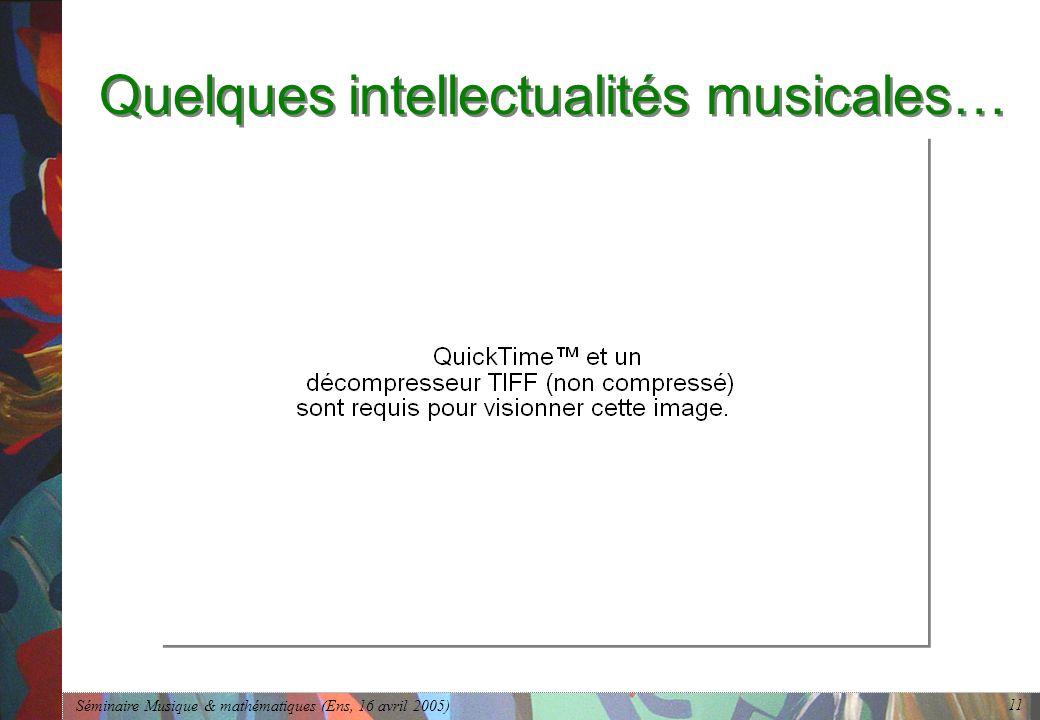 Séminaire Musique & mathématiques (Ens, 16 avril 2005) 11 Quelques intellectualités musicales…