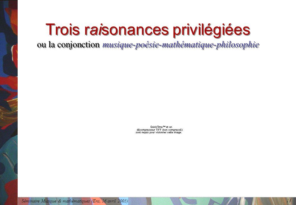 Séminaire Musique & mathématiques (Ens, 16 avril 2005) 13 Trois raisonances privilégiées ou la conjonction musique-poésie-mathématique-philosophie
