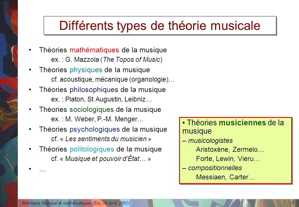 Séminaire Musique & mathématiques (Ens, 16 avril 2005) 16 Différents types de théorie musicale Théories mathématiques de la musique ex.