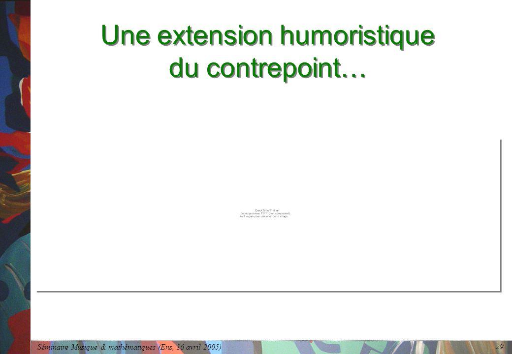 Séminaire Musique & mathématiques (Ens, 16 avril 2005) 29 Une extension humoristique du contrepoint…