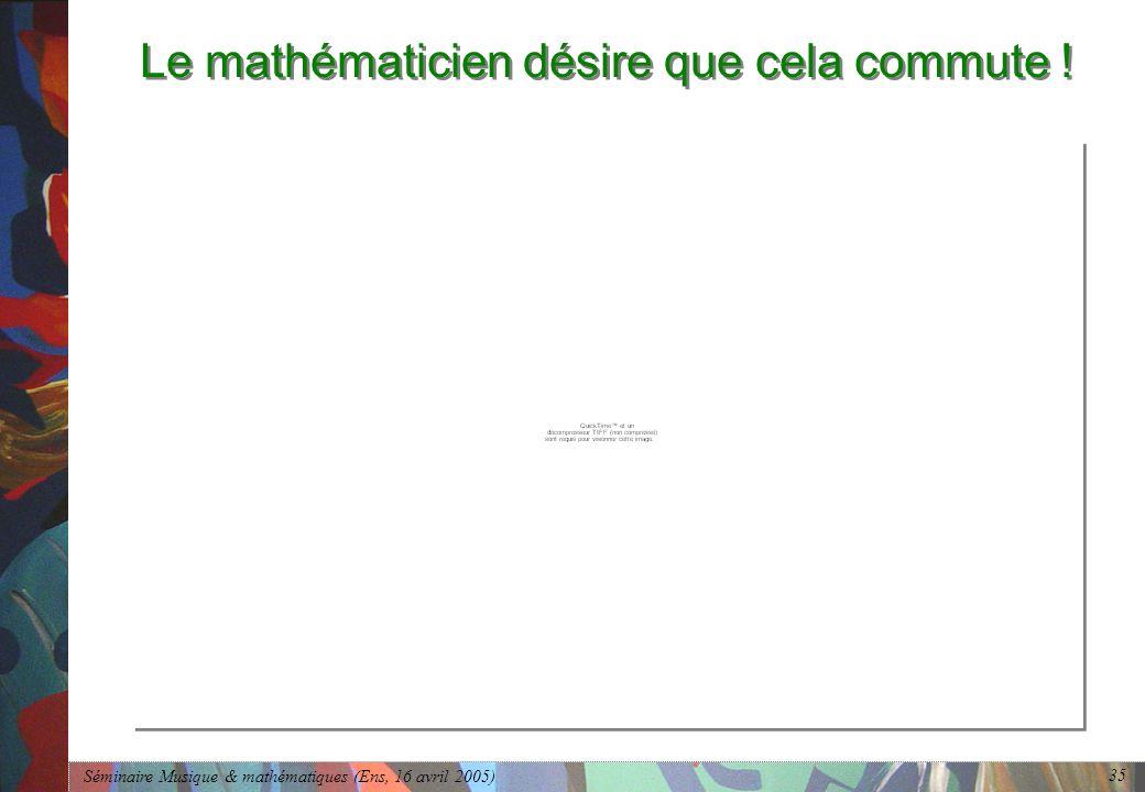 Séminaire Musique & mathématiques (Ens, 16 avril 2005) 35 Le mathématicien désire que cela commute !