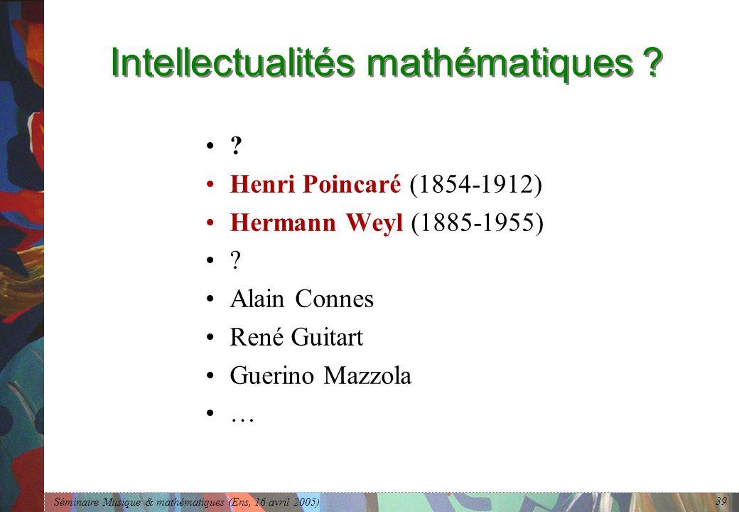 Séminaire Musique & mathématiques (Ens, 16 avril 2005) 39 Intellectualités mathématiques .