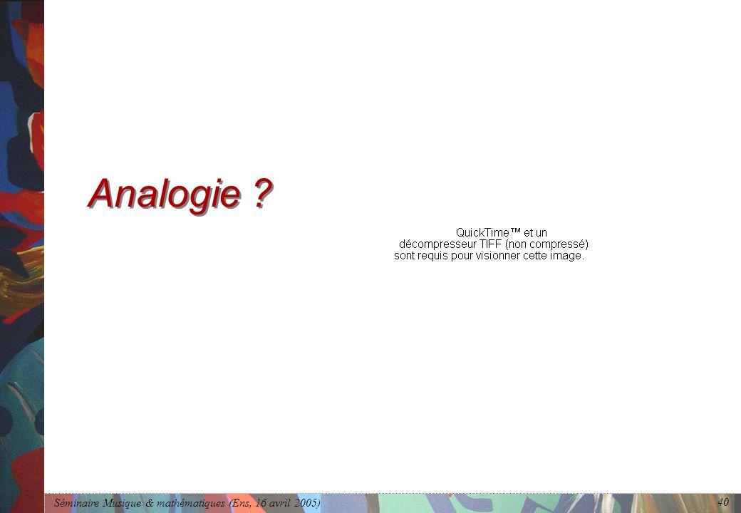 Séminaire Musique & mathématiques (Ens, 16 avril 2005) 40 Analogie