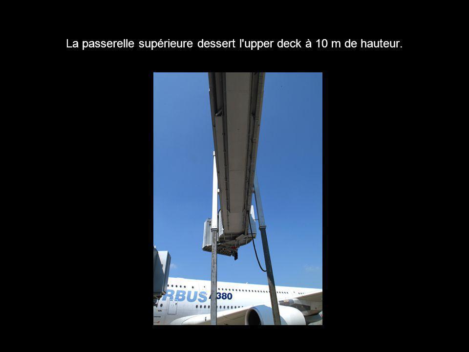 La passerelle supérieure dessert l'upper deck à 10 m de hauteur.