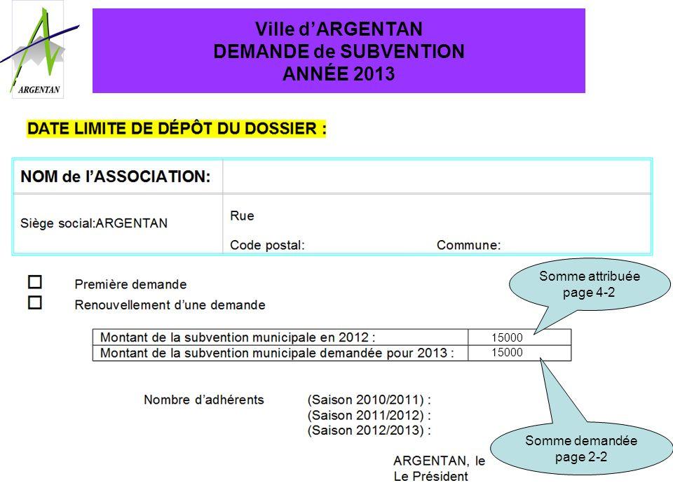 Ville dARGENTAN DEMANDE de SUBVENTION ANNÉE 2013 Somme attribuée page 4-2 Somme demandée page 2-2 15000 15 mars 2013 au Service Vie Associative