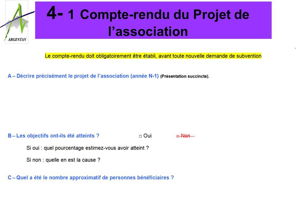 4- 1 Compte-rendu du Projet de lassociation