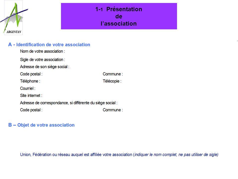 1- 1 Présentation de lassociation