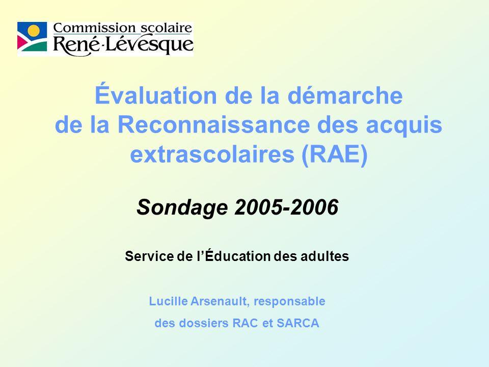 Évaluation de la démarche de la Reconnaissance des acquis extrascolaires (RAE) Sondage 2005-2006 Service de lÉducation des adultes Lucille Arsenault, responsable des dossiers RAC et SARCA