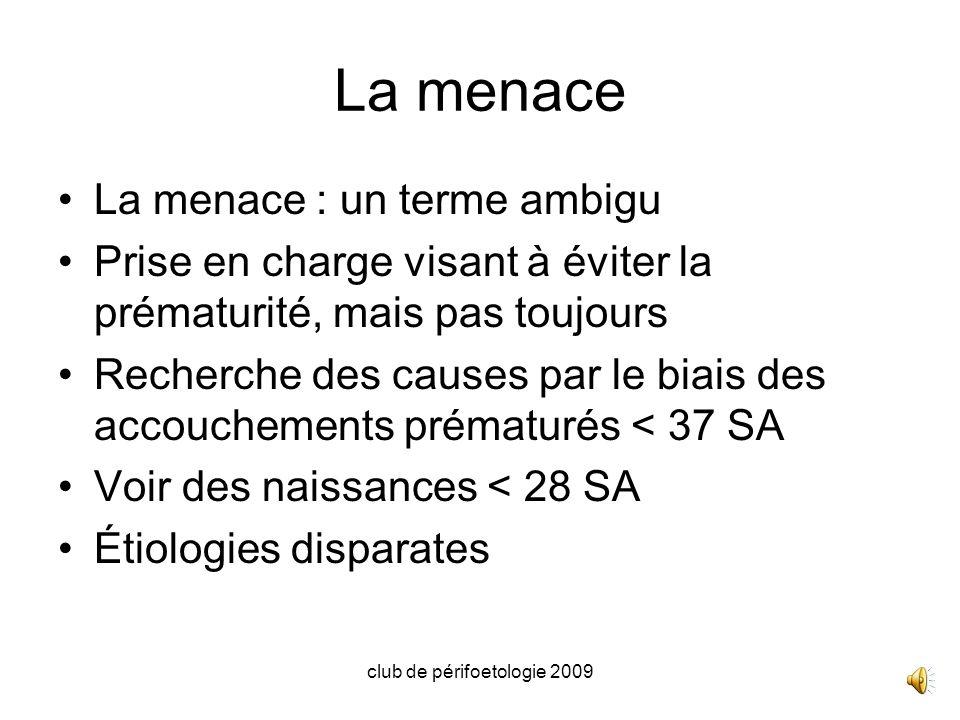 club de périfoetologie 2009 Mme NLA… 36 ans, origine dAfrique centrale, (A/A) 2 accouchements à terme en 2000 (3400g) et 2007(2800g), 1 IVG entre les 2 BMI 30.4, non tabagique Plastie mammaire de réduction Première écho à 13 SA+1j : CN 1.3, LCC 76, pas danomalie morphologique, LA en quantité faible, épaississement et hypervascularisation de la face choriale du trophoblaste, demande davis spécialisé