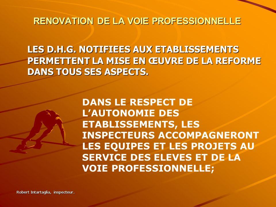 Robert Intartaglia, inspecteur.RENOVATION DE LA VOIE PROFESSIONNELLE LES D.H.G.