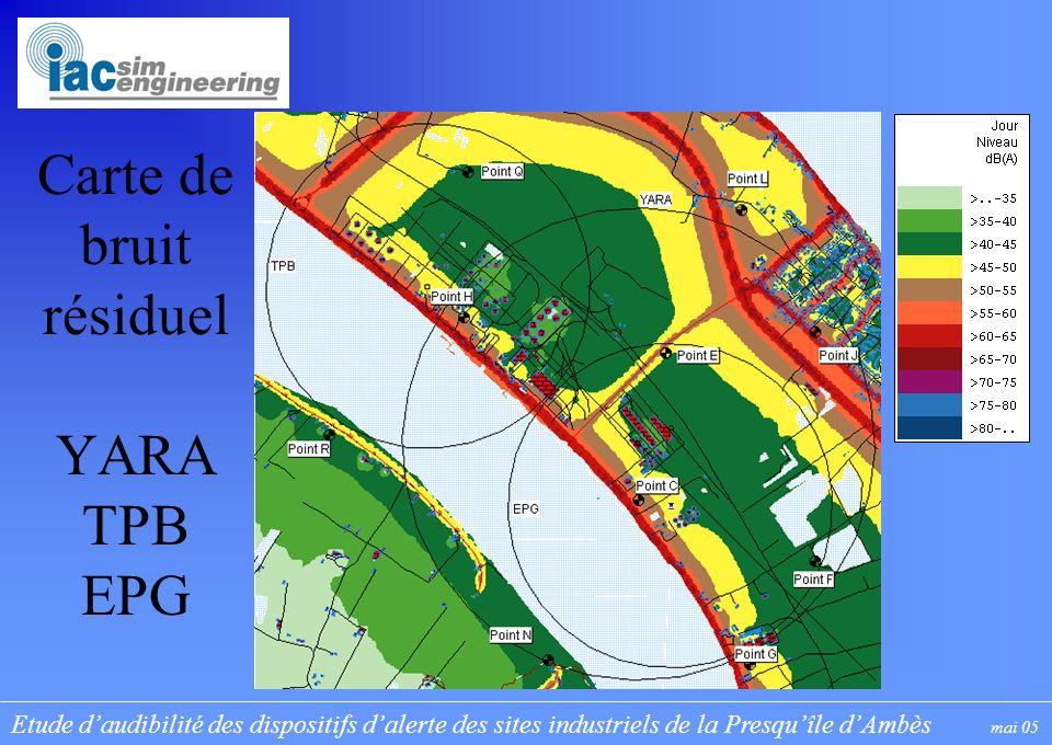 Etude daudibilité des dispositifs dalerte des sites industriels de la Presquîle dAmbès mai 05 Carte de bruit résiduel YARA TPB EPG