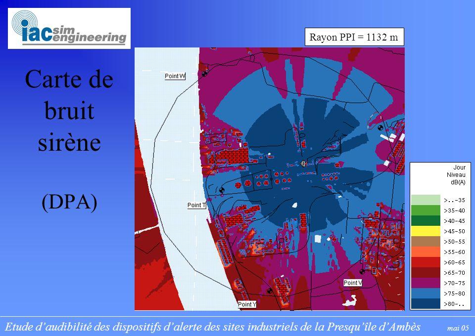 Etude daudibilité des dispositifs dalerte des sites industriels de la Presquîle dAmbès mai 05 Carte de bruit sirène (DPA) Rayon PPI = 1132 m