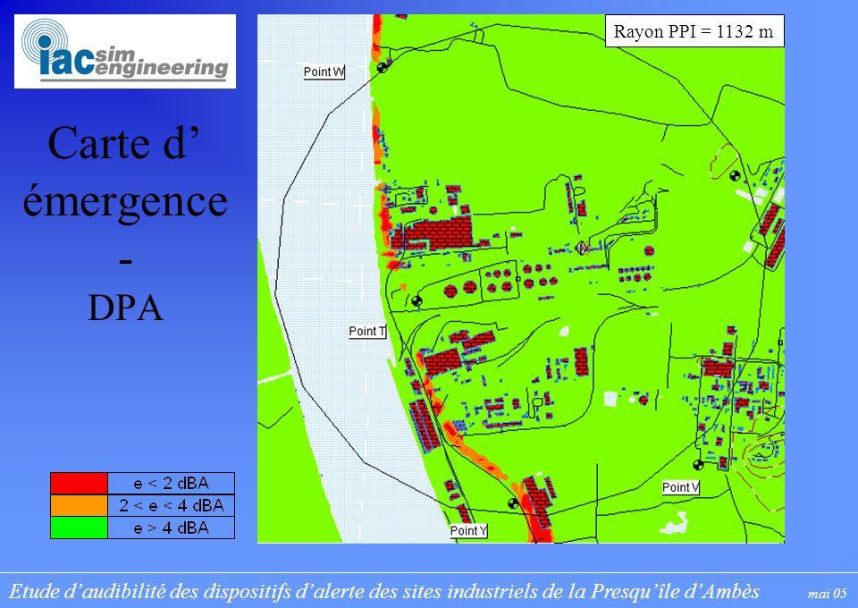 Etude daudibilité des dispositifs dalerte des sites industriels de la Presquîle dAmbès mai 05 Carte d émergence - DPA Rayon PPI = 1132 m
