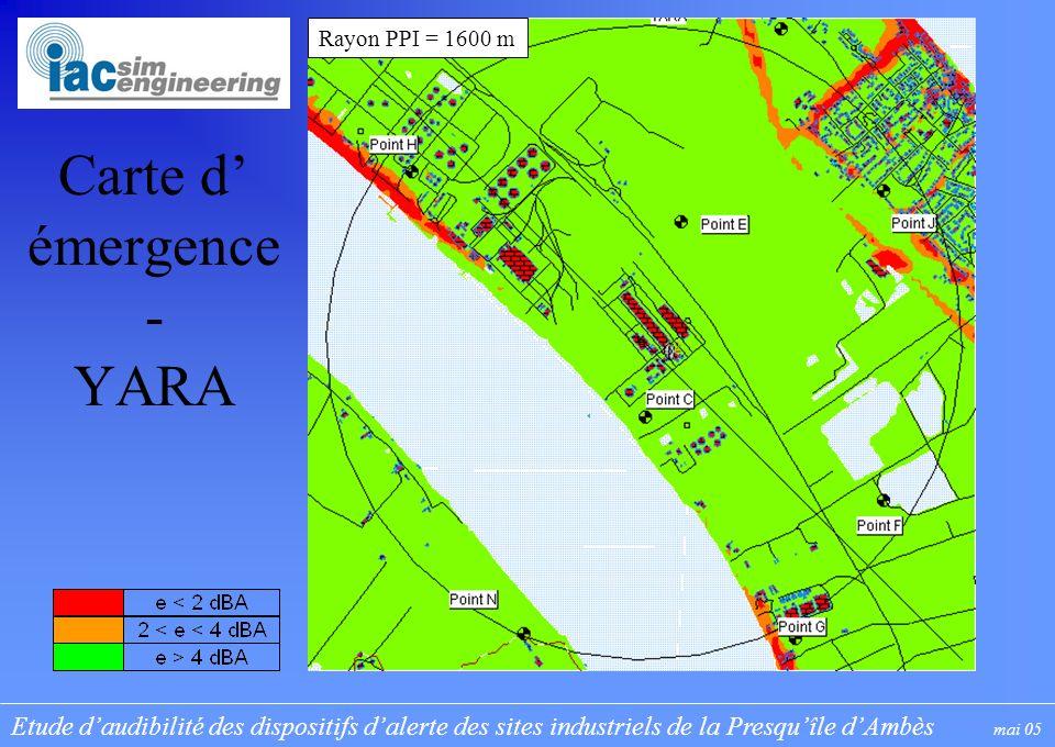 Etude daudibilité des dispositifs dalerte des sites industriels de la Presquîle dAmbès mai 05 Carte d émergence - YARA Rayon PPI = 1600 m