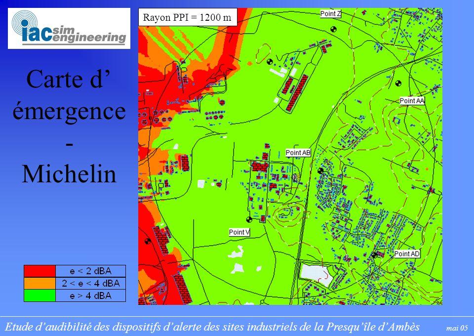 Etude daudibilité des dispositifs dalerte des sites industriels de la Presquîle dAmbès mai 05 Carte d émergence - Michelin Rayon PPI = 1200 m