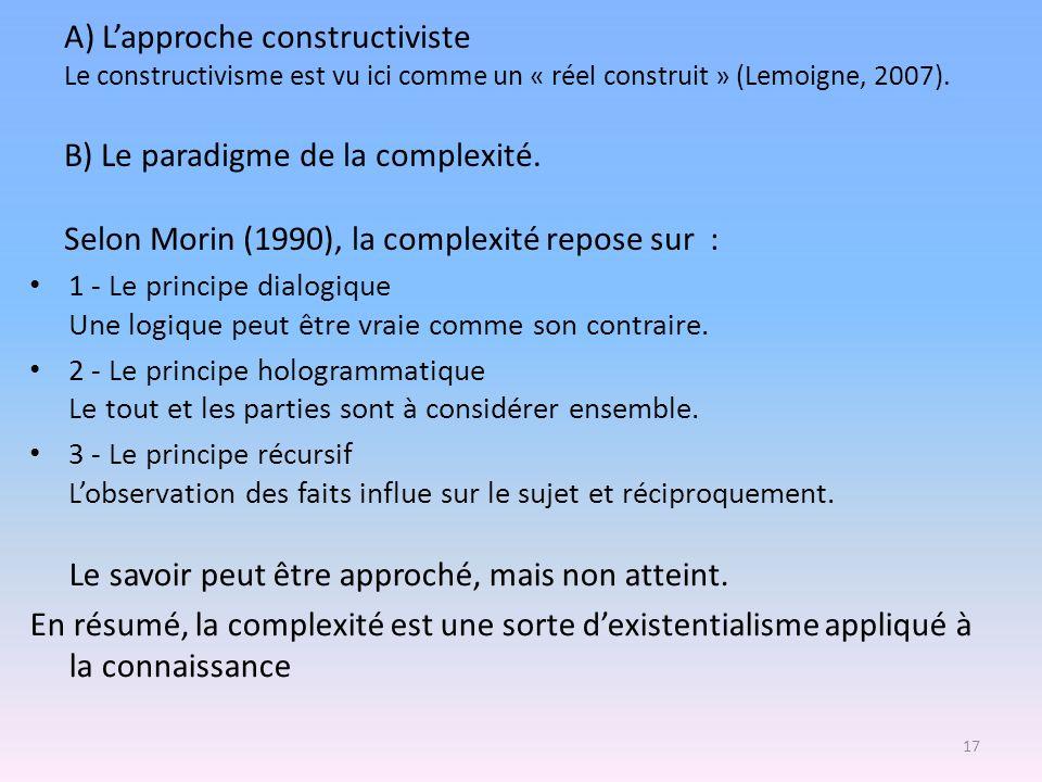 A) Lapproche constructiviste Le constructivisme est vu ici comme un « réel construit » (Lemoigne, 2007). B) Le paradigme de la complexité. Selon Morin